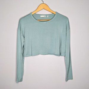 Aritzia Wilfred Free Blue Long Sleeve Cropped Top